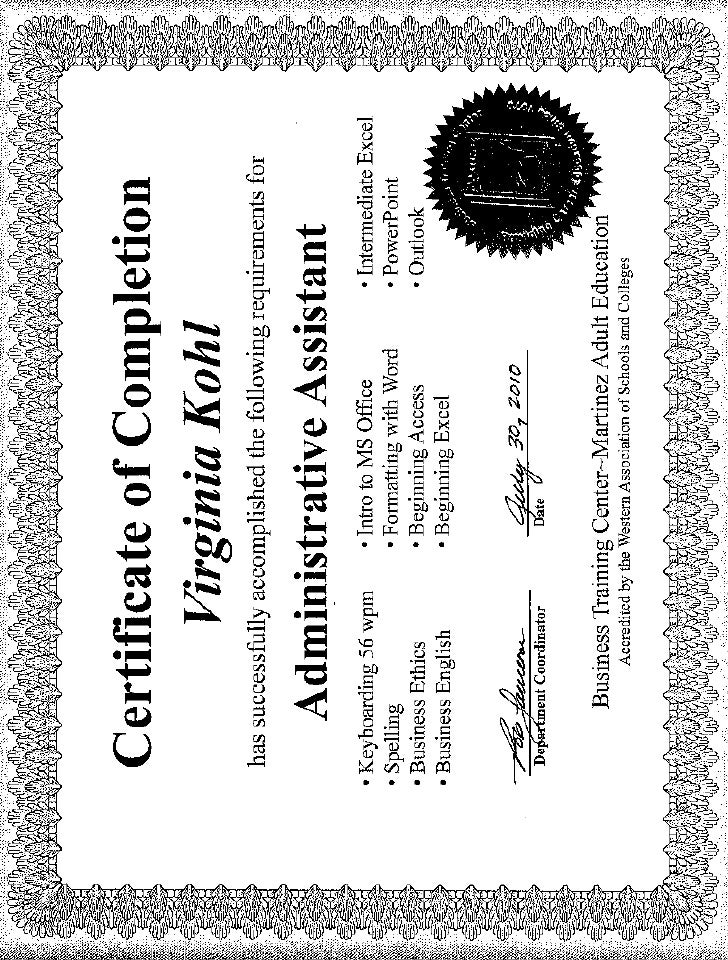 administrative assistant certificate