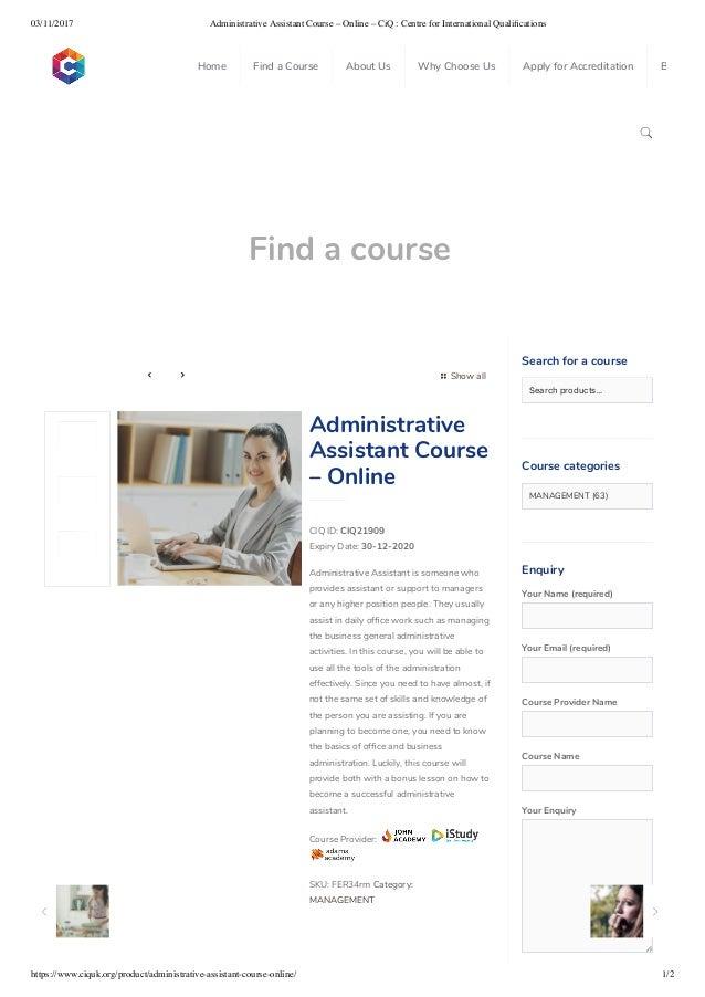 Administrative Assistant Course Online Ciq