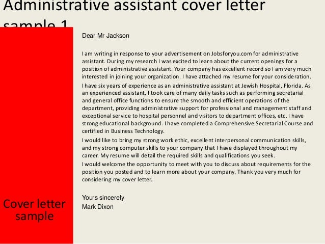 administrative assistant cover letter - Administrative Assistant Cover Letter