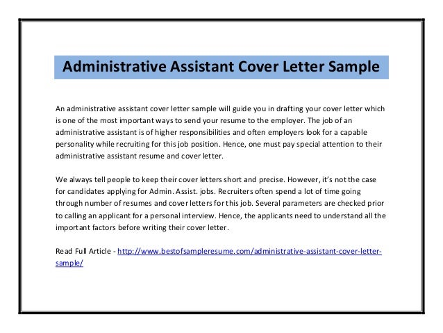 Administrative assistant cover letter sample for Examples of cover letters for administrative positions