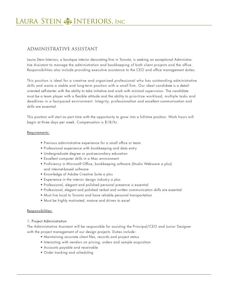 Laura Stein Interiors, IncLaura Stein Assistant Administrative Interiors,  ...  Duties Of Administrative Assistant