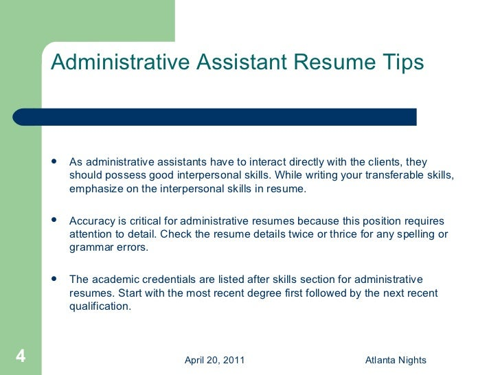 key skills resume administrative assistant