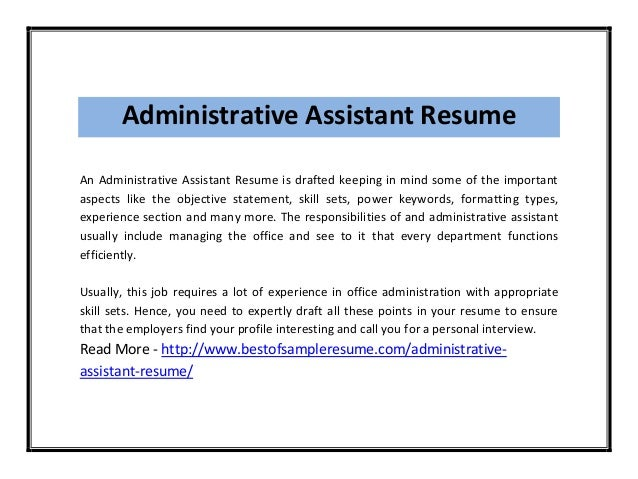 Personal summary for administrative assistant