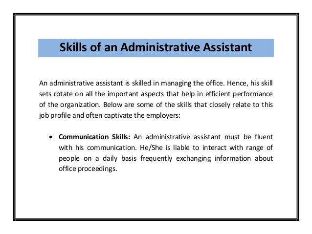 5. Skills Of An Administrative Assistant ...  Administrative Assistant Office Resume