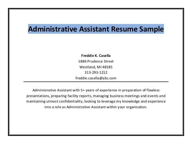 administrative assistant resume