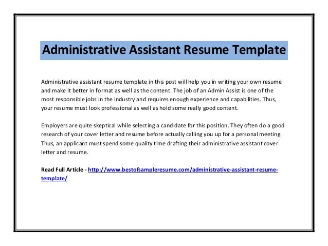 Administrative Assistant Resume Template ...