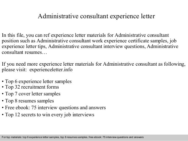 Administrative Consultant Experience Letter In This File, You Can Ref  Experience Letter Materials For Administrative ...
