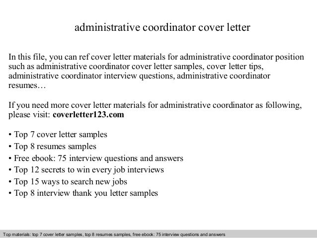 Administrative Coordinator Cover Letter In This File, You Can Ref Cover  Letter Materials For Administrative Cover Letter Sample ...