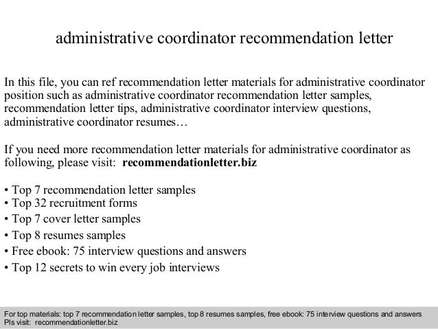 interview questions and answers free download pdf and ppt file administrative coordinator recommendation letter