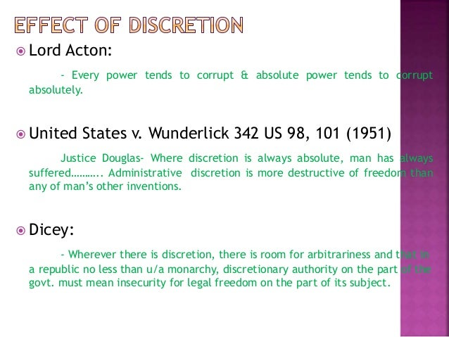 administrative discretion and rule of law
