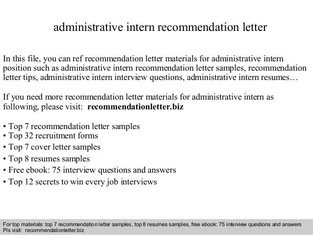 Administrative intern recommendation letter interview questions and answers free download pdf and ppt file administrative intern recommendation letter spiritdancerdesigns