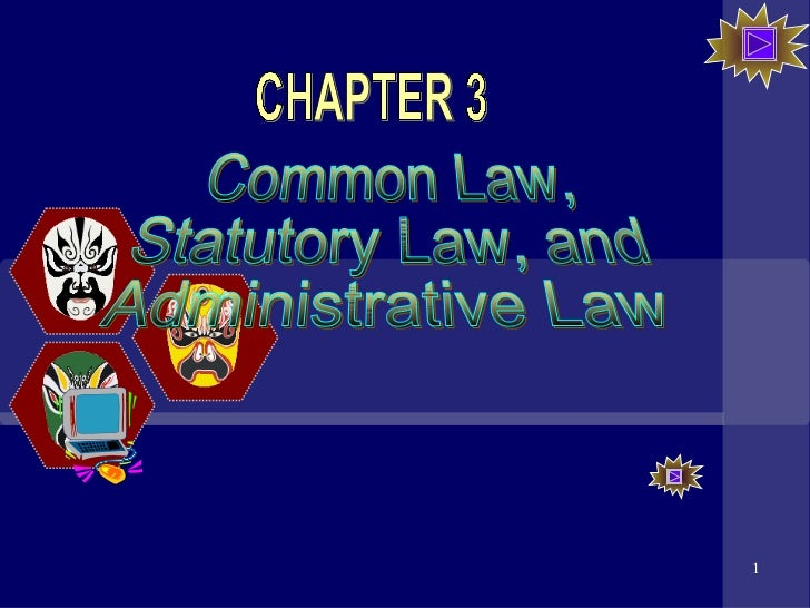 Common Law, Statutory Law, and Administrative Law CHAPTER 3