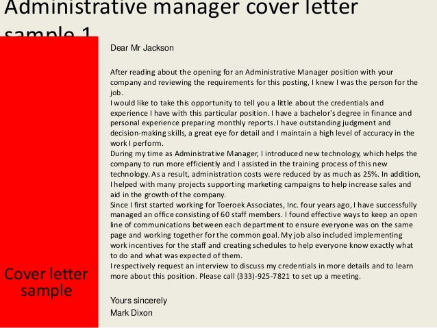 Administrative Manager Cover Letters