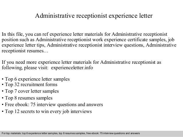 administrative receptionist experience letter in this file you can ref experience letter materials for administrative experience letter sample