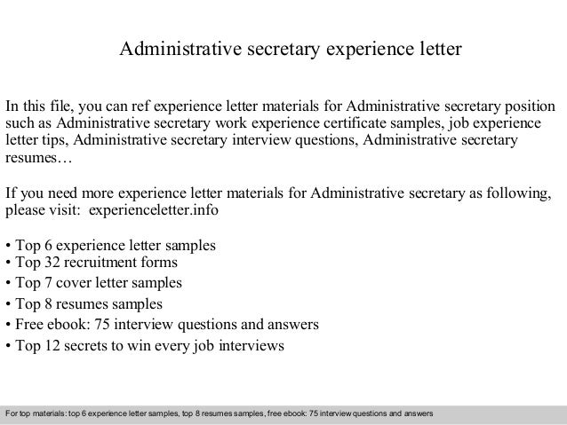 administrative secretary experience letter in this file you can ref experience letter materials for administrative - Administrative Secretary Cover Letter