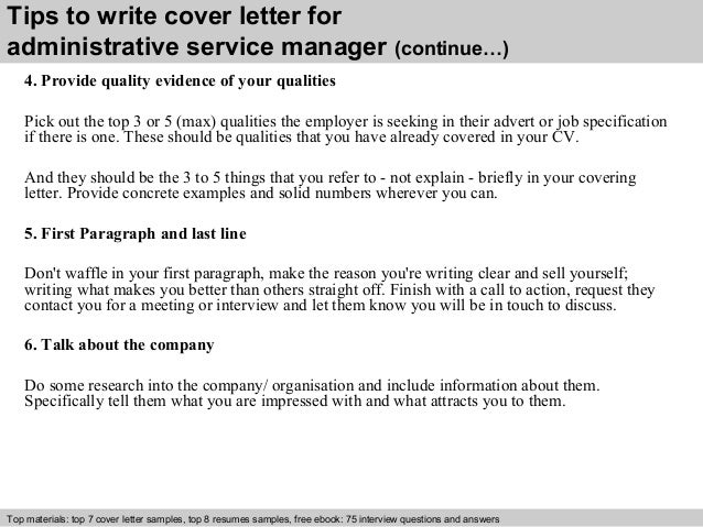 Administrative service manager cover letter