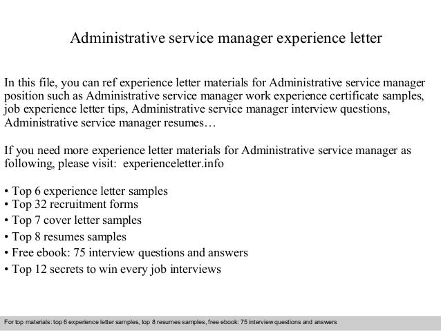 administrative service manager experience letter in this file you can ref experience letter materials for