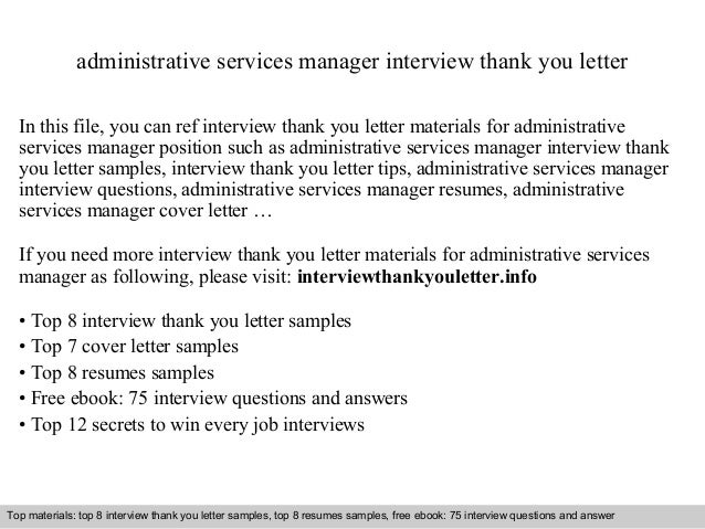 Administrative Services Manager Interview Thank You Letter In This File,  You Can Ref Interview Thank ...