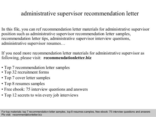interview questions and answers free download pdf and ppt file administrative supervisor recommendation letter