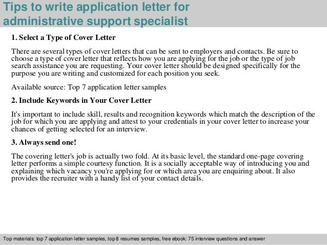 3 Tips To Write Application Letter For Administrative Support Specialist