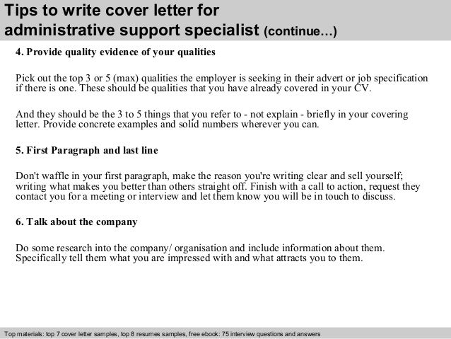 administrative support specialist cover letter