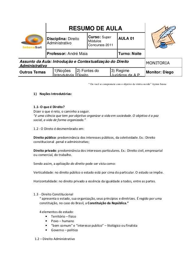 RESUMO DE AULA                Disciplina: Direito          Curso: Super              AULA 01                              ...