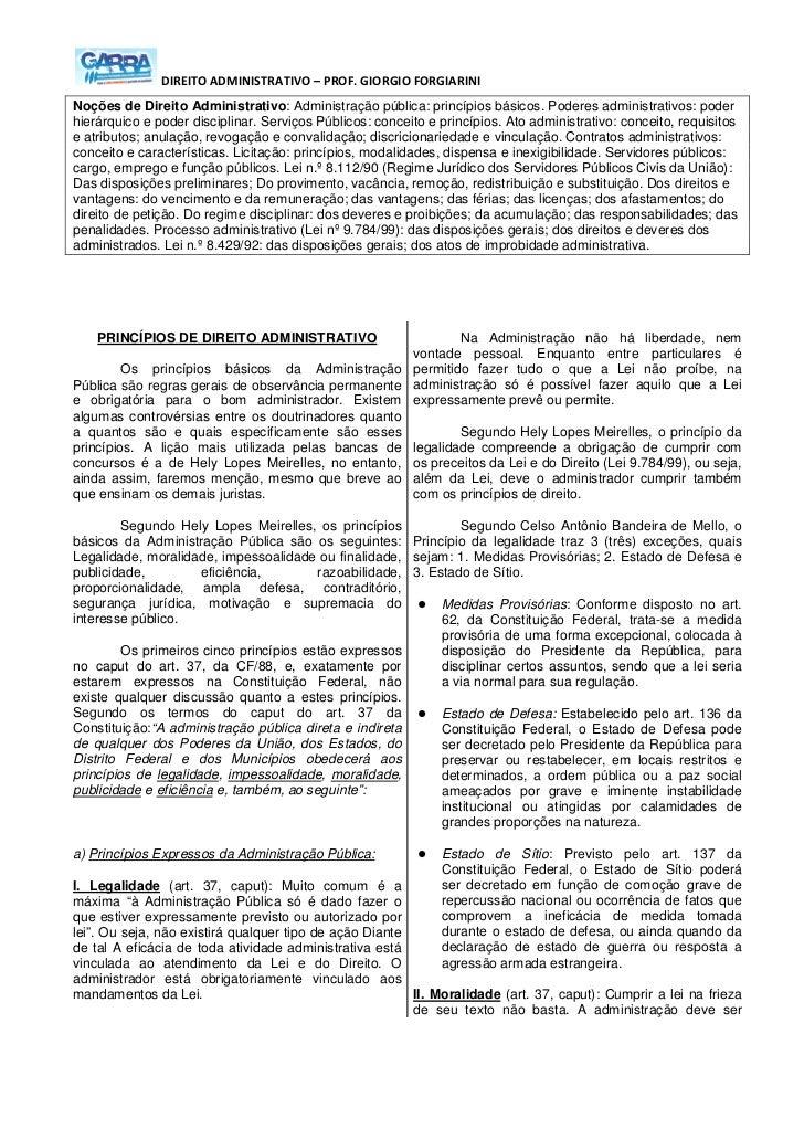 DIREITO ADMINISTRATIVO – PROF. GIORGIO FORGIARININoções de Direito Administrativo: Administração pública: princípios básic...