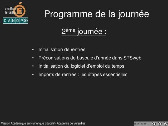 Programme de la journée 2ème journée : • Initialisation de rentrée • Préconisations de bascule d'année dans STSweb • Initi...