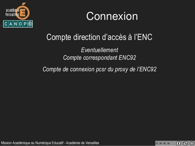 Connexion Compte direction d'accès à l'ENC Eventuellement Compte correspondant ENC92 Compte de connexion pcsr du proxy de ...