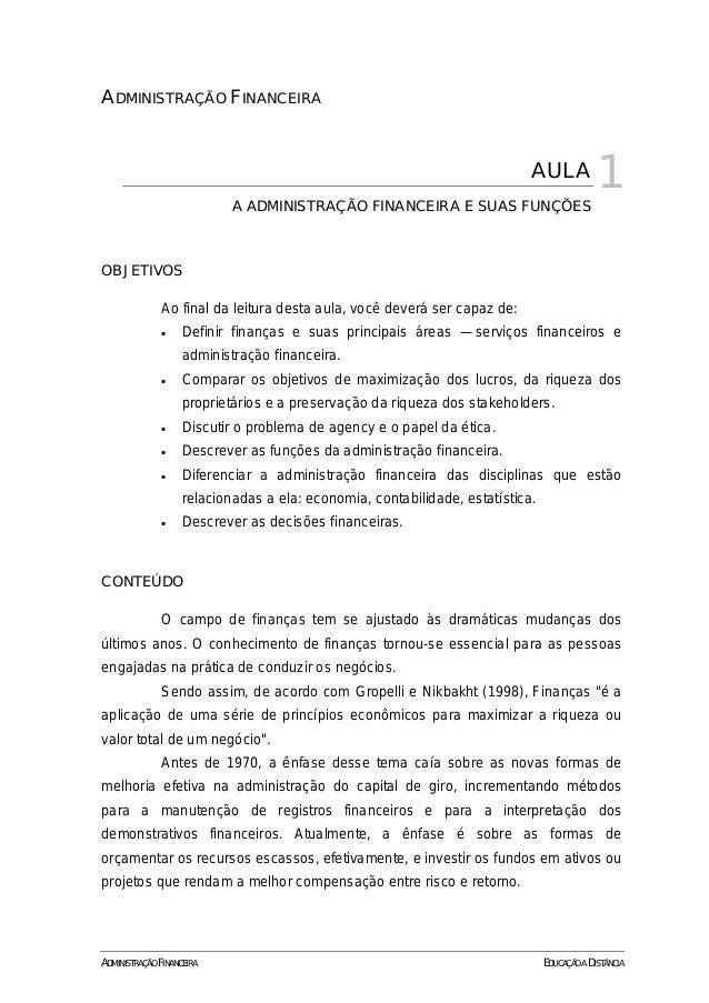 1ADMINISTRAÇÃO FINANCEIRA                                                                            AULA             1   ...
