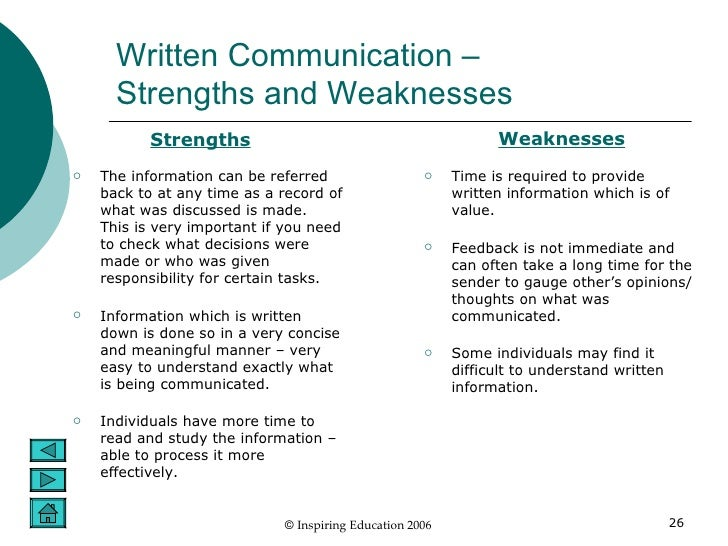 strengths and weaknesses of communication and Strengths swot analysis threats weaknesses 91 weaknesses also breed other weaknesses poor communication disrupts the continuity of care.
