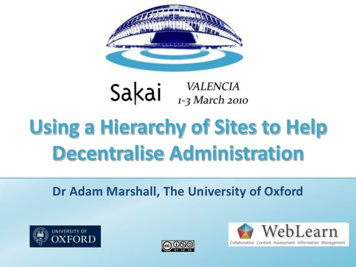 Using a Hierarchy of Sites to Help Decentralise Administration<br />Dr Adam Marshall, The University of Oxford<br />