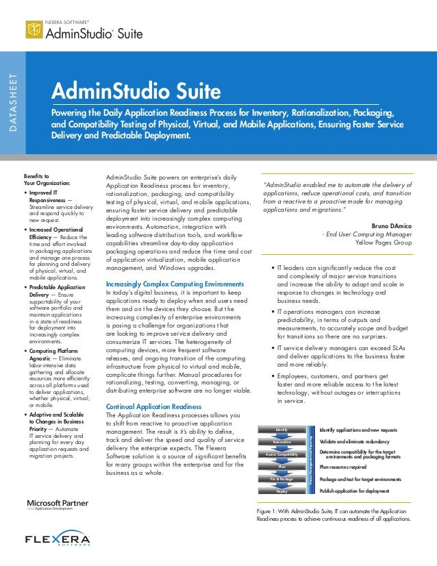 DATASHEET AdminStudio Suite Powering the Daily Application Readiness Process for Inventory, Rationalization, Packaging, an...