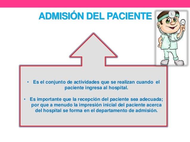 Admision del paciente for Actividades que se realizan en una oficina wikipedia