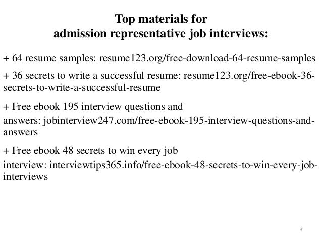 2 3 Top Materials For Admission Representative