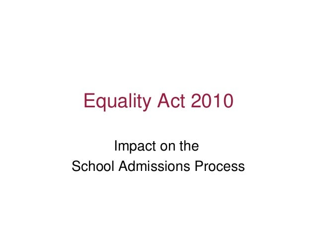 Equality Act 2010 Impact on the School Admissions Process