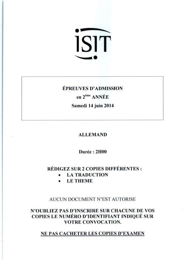 ISIT - Préparer les épreuves d'admission avec les annales 2014 : Allemand 2ème année