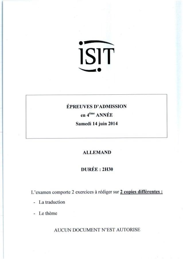 ISIT - Préparer les épreuves d'admission avec les annales 2014 : Allemand 4ème année