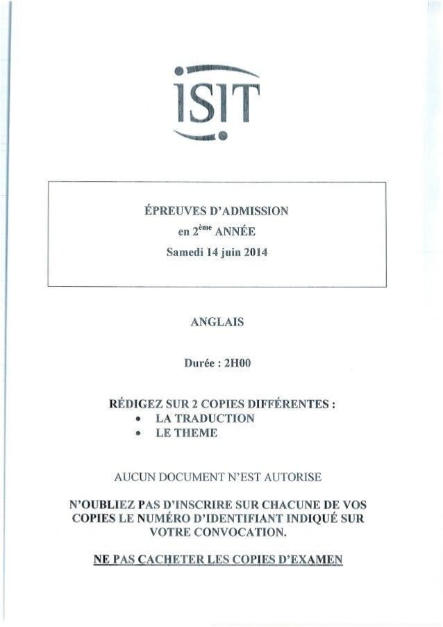 ISIT - Préparer les épreuves d'admission avec les annales 2014 : Anglais 2ème année