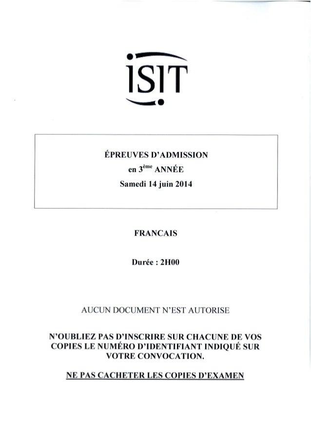 ISIT - Préparer les épreuves d'admission avec les annales 2014 : Français 3ème année