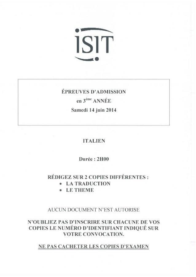 ISIT - Préparer les épreuves d'admission avec les annales 2014 : Italien 3ème année