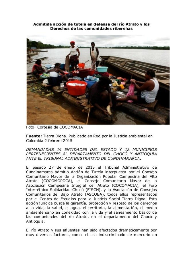 Admitida acción de tutela en defensa del río Atrato y los Derechos de las comunidades ribereñas Foto: Cortesía de COCOMACI...