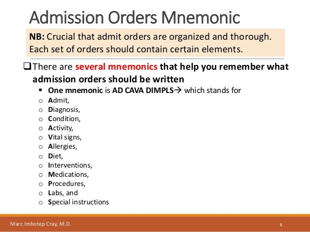 Admitting A Patient To The Hospitaladmit Orders