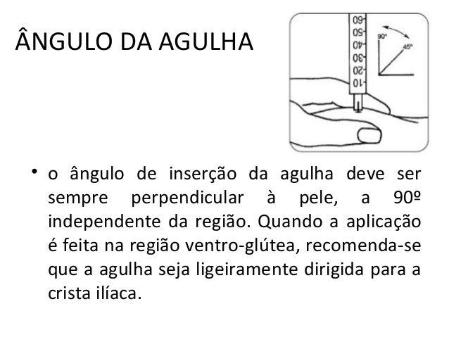ÂNGULO DA AGULHA • o ângulo de inserção da agulha deve ser sempre perpendicular à pele, a 90º independente da região. Quan...