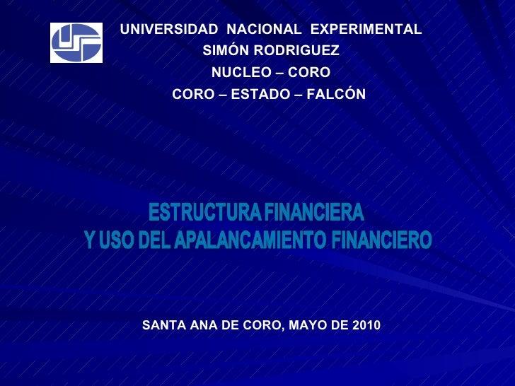 UNIVERSIDAD  NACIONAL  EXPERIMENTAL SIMÓN RODRIGUEZ NUCLEO – CORO CORO – ESTADO – FALCÓN  SANTA ANA DE CORO, MAYO DE 2010