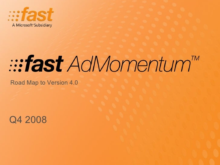 Q4 2008 Road Map to Version 4.0