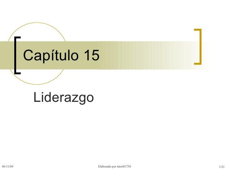 Capítulo 15 Liderazgo