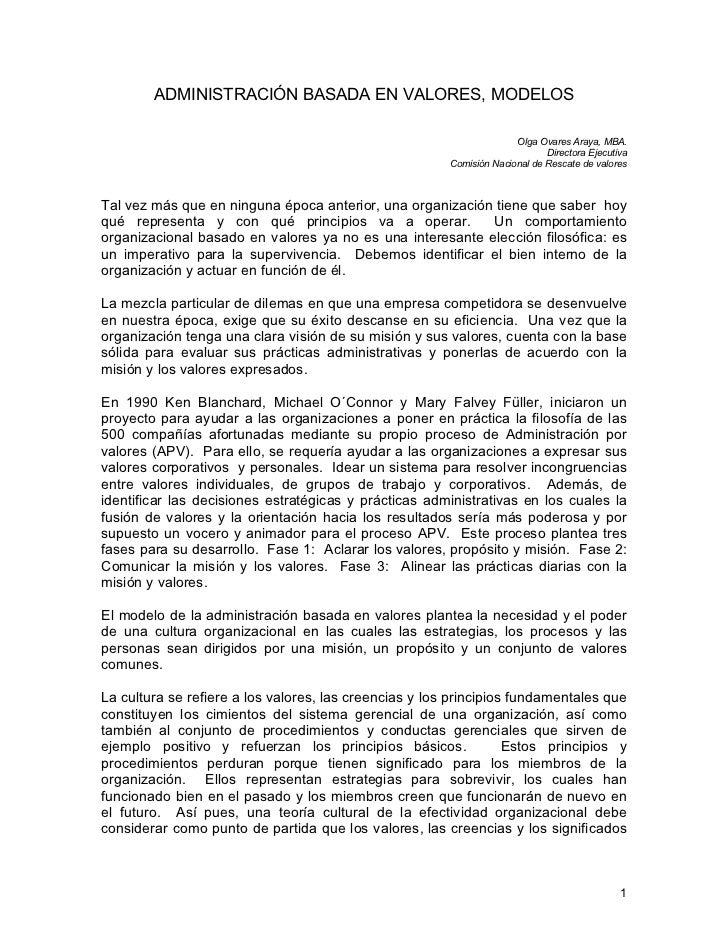 ADMINISTRACIÓN BASADA EN VALORES, MODELOS                                                                      Olga Ovares...