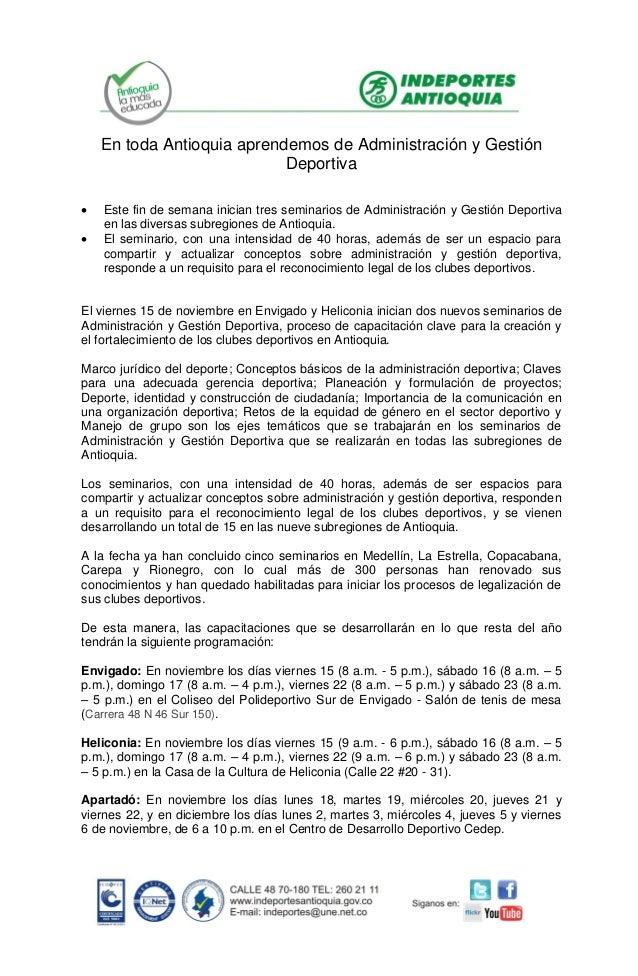 En toda Antioquia aprendemos de Administración y Gestión Deportiva    Este fin de semana inician tres seminarios de Admi...