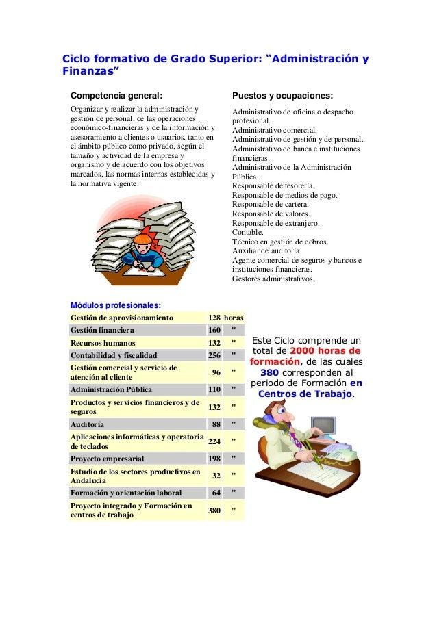"""Ciclo formativo de Grado Superior: """"Administración yFinanzas""""Competencia general: Puestos y ocupaciones:Organizar y realiz..."""